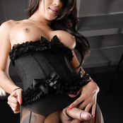 Beautiful Jane Marie strokes in a corset