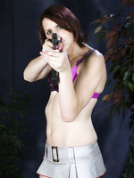 Naughty tgirl Addy playing with her gun