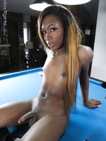 Chocolate tgirl Eryn strips and plays
