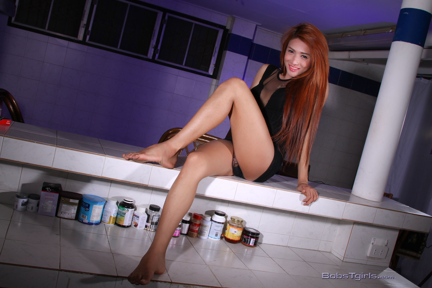 image Exotic ladyboy beauty exposes long cock and blowjobs in pov