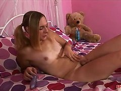 Cute blonde shemale loves to stroke her cock off