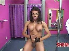 Black shemale Sasha strokes works the pole like a pro