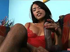 Hot busty Asian shemale Jessica Fox fucks black dildo
