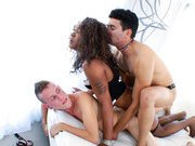 Two white guys and one ebony tgirl have a all dick threesome