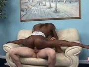 Petite black tranny with amazing body does split on cock