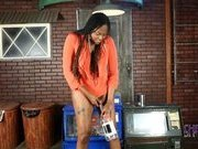 Black tgirl hottie Nia pees and plays