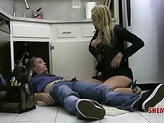 Busty blonde shemale calls the plumper to clean her pipes
