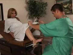 Shemale Jessica Host shows the doctor her hung cock