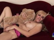 Mature shemale Jesse plays with her big teddy bear