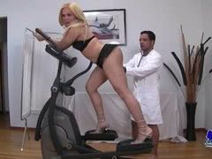 Physical therapist fucks blonde tranny