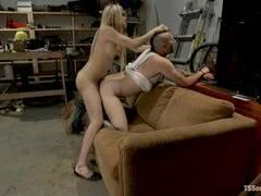 Busty blonde tranny bangs queer with Mohawk in the garage