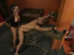 Dominant shemale uses ropes and takes control of black male