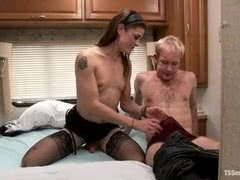 Sexy brunette shemale takes on blonde twink boy