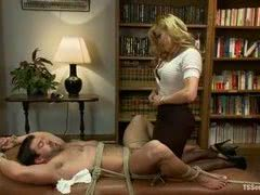 Mature blonde shemale ties up her student in her office