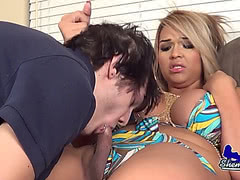 Busty TS Kim Diamond rides hard cock