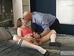 Tiny tits shemale takes cock in her ass in different poses