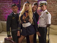 Three pilots gangbang horny Aubrey Kate