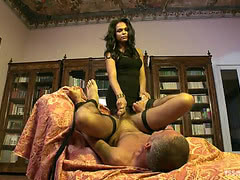 Male gets anal doggystyled by stunning shemale babe