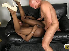 Dude sucks and fucks sexy ebony tranny Brooke Morgan
