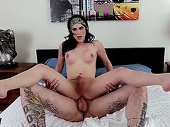 Horny shemale Nina Lawless gets little rear pounded
