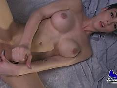 Big tits shemale pornstar Domino Presley jacking off