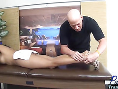 TS pornstar Vaniity barebacked on the massage table