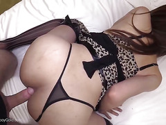 Hot ladyboy Grace in sexy lingerie takes it ass to mouth