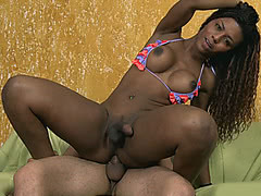 Chocolate skin Viviane getting her asshole purged by big cock