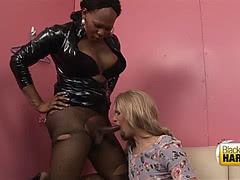 Chubby black tgirl screwing sissy boy