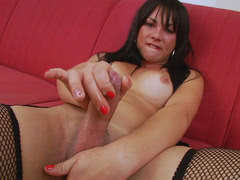 Bianca Delprado jack off her hard shemale cock and cum