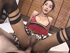 Teen asian ladyboy gets ass ripped bareback