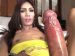 Skinny ladyboy with hard cock takes in anally
