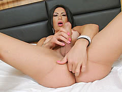 Alana Ribeiro fingering her ass and jerking her cock to orgasm