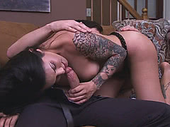 Busty TS cougar Foxxy seducing her handsome man