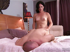 Small titted shemale Gina Hart fucks hairy guy