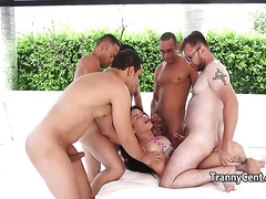 Lusty tranny gangbanged by five guys outdoors