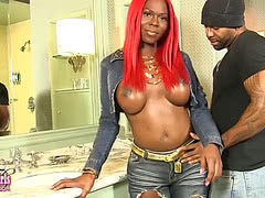 Soldier Boi fucks busty black tgirl with red hair