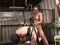 Black tgirl dominate tied white guy