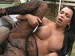 Kamily Santos in pantyhose gets her ass drilled outdoors