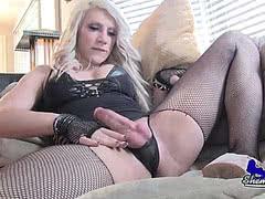 Blonde Lexa Harding stroking her hard schlong