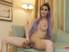 Famous Domino Presley playing her juicy shemale cock