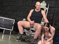 Submissive TS Christina Skyye pleases her master Christian