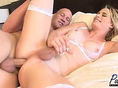 Blonde TS Nikki Vicious getting her anal hole heavily plowed