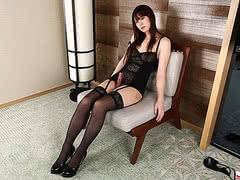 Naughty Japanese tgirl Rin Shinonome posing in her sexy black lingerie