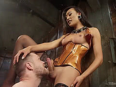 TS queen Venus Lux dominate her willing slave