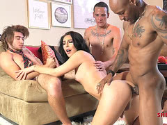 Tgirl star Chanel Santini gangbanged by three guys
