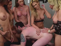 Five hot latina trannies fuck this lucky guy in a crazy gangbang