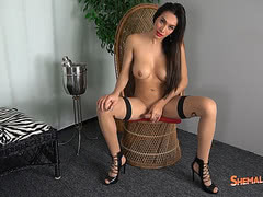 Gorgeous Diana Love in sexy lingerie and high heels strokes her hard rod