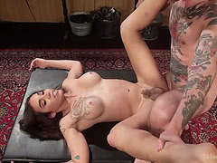 Lustful Tori Mayes getting her ass drilled in the basement