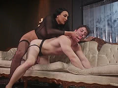 Yasmin Lee force her slave to suck her cock and fucks him hard